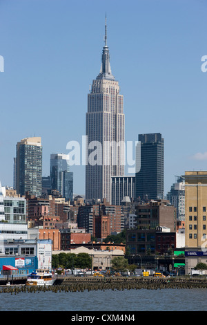 The Empire State Building viewed from the west side of Manhattan, New York - Stock Photo