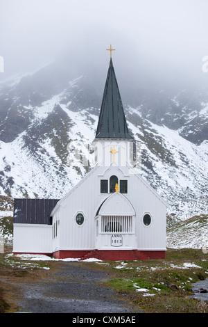 The Norwegian Church in Grytviken, South Georgia Island. - Stock Photo