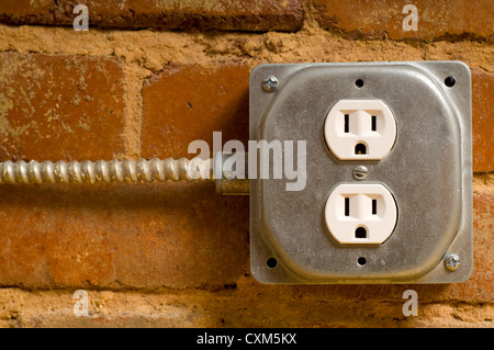 Electrical outlet on a wall of red brick stock photo, royalty free on install electrical outlet brick wall Code Electrical Outlet Repair Electrical Outlet