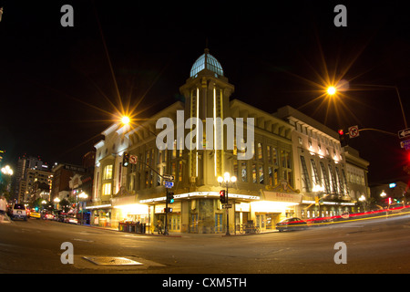 San Diego, CA - Aug. 12, 2012:   Street view of historic Gaslamp Quarter in San Diego, CA lit up at night on Aug. - Stock Photo