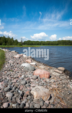 View of the Vantaa River from the Arabianranta shore in Helsinki, Finland - Stock Photo