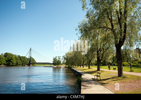 View down the Vantaa River in the 'Old Town' part of Helsinki, Finland - Stock Photo