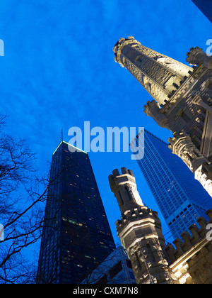 Chicago Water Tower and John Hancock Center. Chicago, Illinois - Stock Photo