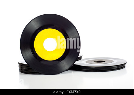 Vintage vinyl record albums with copy space on a white background add text or graphic to record label - Stock Photo