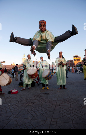 Chleuh dancing-boys,  Djemaa el Fna, Jamaa el Fna, main square of Marrakesh, Morocco - Stock Photo