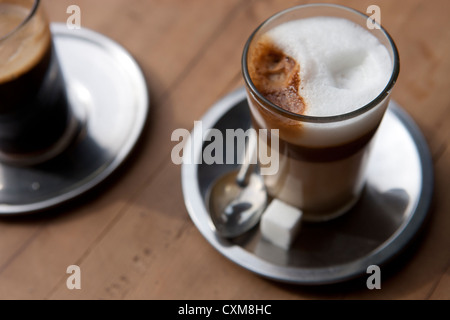 Coffees in bar in Marrakech in Morocco. - Stock Photo