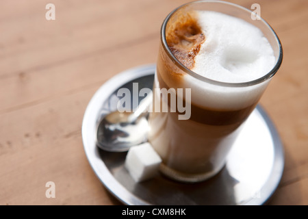Coffee with milk in bar in Marrakesh, Morocco - Stock Photo