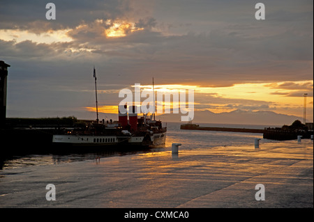 Sunset over Ayr harbour and the Waverly paddle steamer on the Firth of Clyde, Scotland.   SCO 8600 - Stock Photo