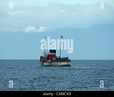 The Waverly Paddle Steamer Sailng out from Ayr towards Arran on the Firth of Clyde.   SCO 8601 - Stock Photo