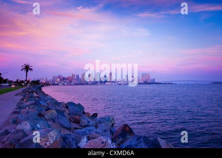 Sunset on San Diego coast - Stock Photo