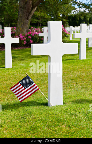 American War Cemetery at Omaha Beach, Normandy (Colleville-sur-Mer ) - Stock Photo