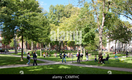Harvard Yard, the old heart of Harvard University campus in Cambridge, MA, USA, on a sunny day in early Fall 2012. - Stock Photo