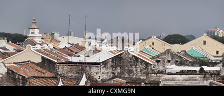 Malacca rooftop view - Stock Photo