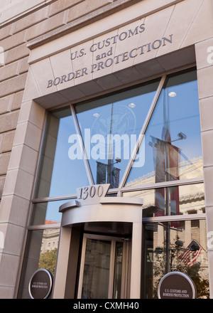 US Customs and Border Protection building entrance sign - Washington, DC USA - Stock Photo