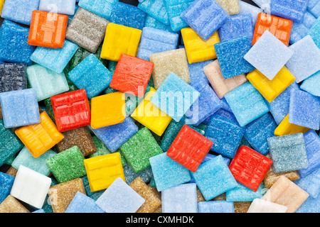 random background of colorful glass mosaic tiles with a dominant blue color - Stock Photo