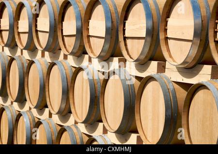 Wooden wine barrels, Bordeaux, Gironde, France - Stock Photo