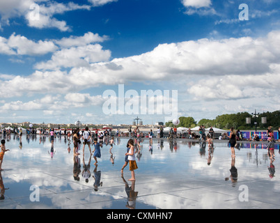 Bordeaux, France - The Water mirror in front of the Stock Exchange Square - Stock Photo