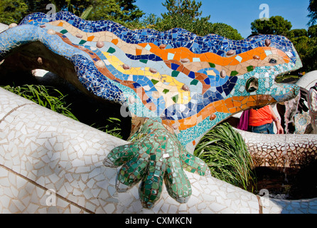 Antoni Gaudi's mosaic dragon fountain at entrance of Parc Guell in Barcelona - Stock Photo