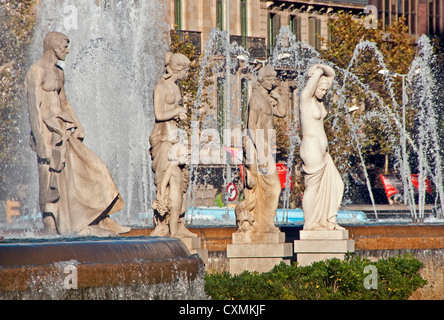 Barcelona's central Placa de Catalunya statues and fountains - Stock Photo