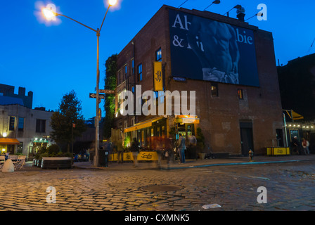 New York, Street Scenes, Street Scene in the Meatpacking District , at Night, Washington Street, Old Warehouse Buildings - Stock Photo