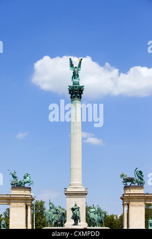 Millennium Monument in Budapest, Hungary with statue of Archangel Gabriel on Corinthian column. - Stock Photo