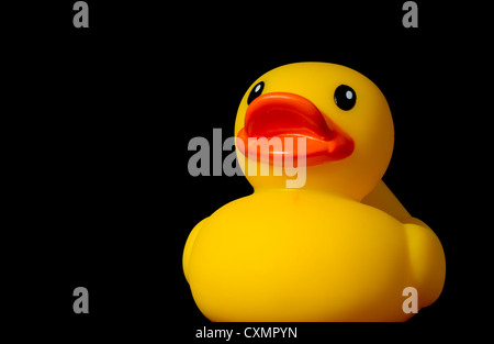 Yellow rubber duck on black background with copy space - Stock Photo