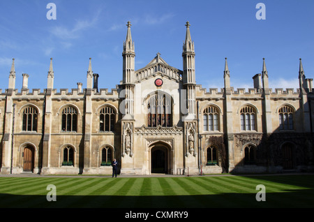 View from main gate towards Corpus Christi college and chapel, Cambridge, England, UK - Stock Photo