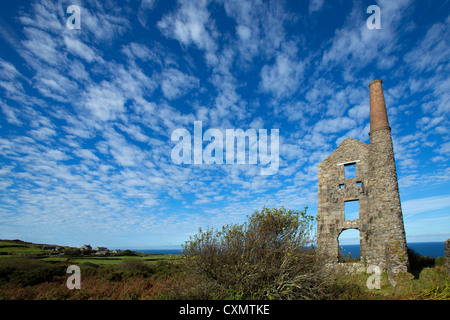 Carn Galva Mine under Autumn Mackerel skies - Stock Photo