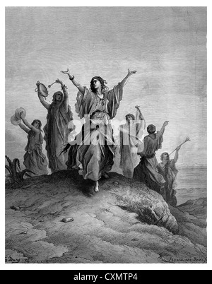 Jephthah s daughter goes to meet her father - Stock Photo