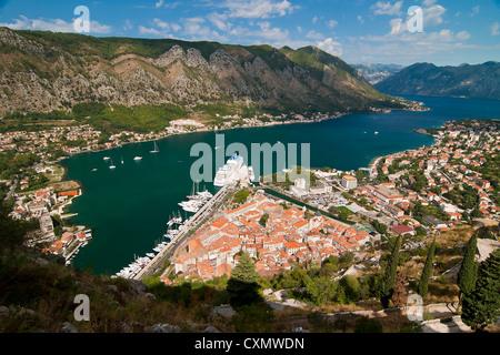 Top view at bay Kotor, Montenegro - Stock Photo