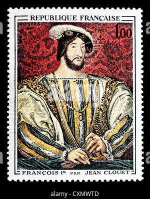 Unused 1967 French postage stamp depicting 'Francois I' by Jean Clouet. - Stock Photo