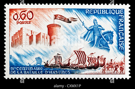 Unused 1966 French postage stamp depicting 900th Anniversary of the Battle of Hastings. - Stock Photo