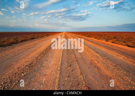 Vastness of Birdsville Track in the desert of South Australia. - Stock Photo