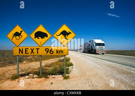 Wildlife raod sign at Eyre Highway. - Stock Photo