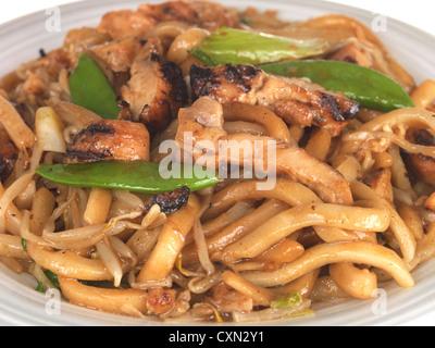 Miso Yaki Chicken Udon Noodles - Stock Photo