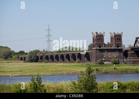 The Duisburg-Hochfeld Reilway Bridge - Stock Photo