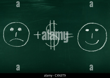 Money can change your life - concept illustrated on chalkboard - Stock Photo