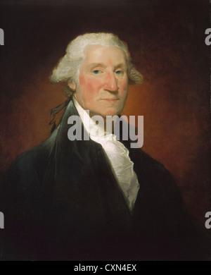 Gilbert Stuart, George Washington (Vaughan portrait), American, 1755 - 1828, 1795, oil on canvas - Stock Photo