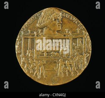 Bertoldo di Giovanni, Lorenzo de' Medici, il Magnifico, 1449-1492 (The Pazzi Conspiracy Medal) [obverse], Italian - Stock Photo