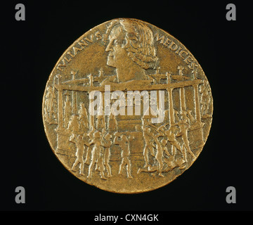 Bertoldo di Giovanni, The Murder of Giuliano I de' Medici (The Pazzi Conspiracy Medal) [reverse], Italian, c. 478, - Stock Photo