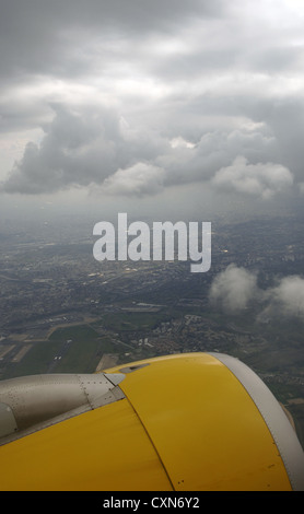 Detail of a plane jet engine during take off from Charles de Gaulle airport. Paris. France. - Stock Photo