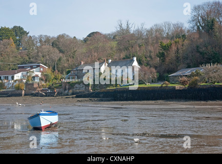 Low tide on the creek off Carrick Roads, River Fal, at Feock near Truro, Cornwall, south west England, UK - Stock Photo