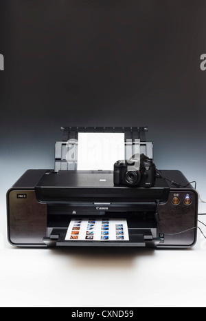 Canon photographic equipment - PIXMA Pro1 A3+ inkjet printer seen with Canon EOS 5D Mark III camera - Stock Photo