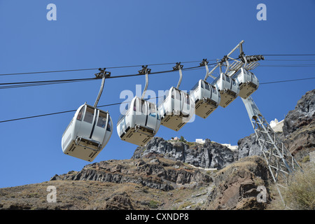 Santorini Cable Car from old port to town of Firá, Firá, Santorini, Cyclades, South Aegean Region, Greece - Stock Photo