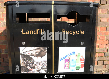 two part recycling bin, with sections for landfill and recyclable waste, wimbledon, southwest london, england - Stock Photo