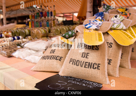 Europe France Nice  essences and scents of Provence in the famous and colorful Marché aux Fleurs Cours Saleya. - Stock Photo