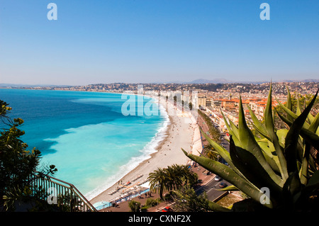Europe France Nice , from the Park and the hill  of the castle  has a wonderful view over the Baie des Anges. - Stock Photo