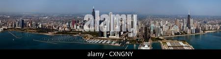 aerial panoramic photograph Chicago, Illinois skyline - Stock Photo
