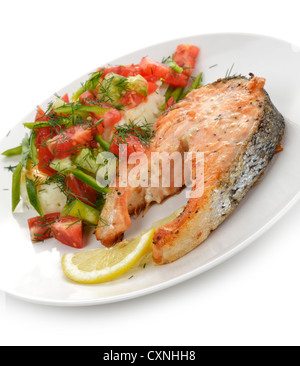 Salmon With Potatoes And Vegetables,Close Up - Stock Photo