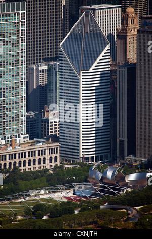 aerial photograph Crain Communications Building Millenium Park, Chicago, Illinois - Stock Photo